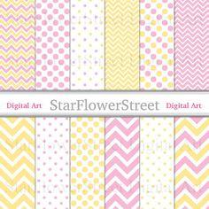 Pink Lemonade Digital Paper yellow girl DIY baby shower party decoration scrapbook background chevron polka dot instant download printable by StarFlowerStreetDA