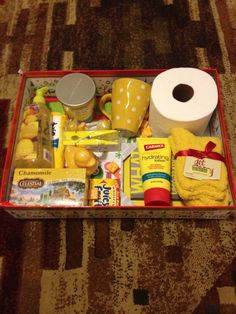 Box of Sunshine...love the soap and dish towel idea.