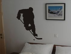 Hockey Room Decor | Ice Hockey Player Decal Sticker Wall Mural Art Graphic Sports Teen Kid ...