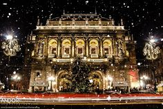 Hungarian State Opera House in snowfall. #Hungary #Budapest #snow