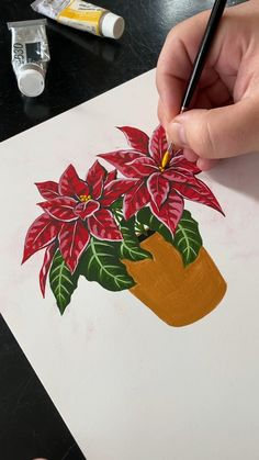 🎄 Painting Poinsettia with Gouache - Happy Holidays! See more inspirational . - 🎄 Painting Poinsettia with Gouache – Happy Holidays! See more inspirational and satisfying ar - Diy Art Painting, Flower Art Painting, Art Drawings, Nature Art Painting, Amazing Art Painting, Gouache Art, Creative Painting, Painting Art Projects, Happy Paintings