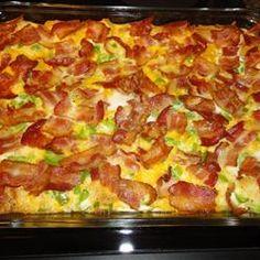 breakfast casseroles, crouton, christmas morning, bell peppers, bacon, charleston breakfast casserole, casserol allrecipescom, charleston recipes, charleston casserole