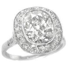 Art Deco style 3.01ct cushion diamond ring