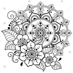 Circular pattern in form of mandala with flower for Henna, Mehndi, tattoo, decoration. Decorative ornament in ethnic oriental style. Coloring book page. Mandala Doodle, Mandala Drawing, Mandala Tattoo, Mehndi Tattoo, Henna Mehndi, Free Adult Coloring Pages, Mandala Coloring Pages, Coloring Book Pages, Free Coloring