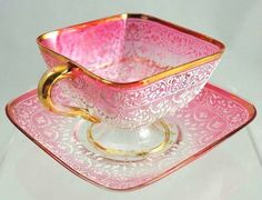 Stunning pink china teacup