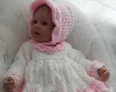 PDF DOWNLOAD BABY KNITTING PATTERN  PLEASE NOTE: This is a set of instructions, not the physical object.  This sale is for the English PDF knitting pattern to create my outfit Sarah-Jane ( © Precious Newborn Knits Ref: JH39) A gorgeous pattern to knit this baby girls sweater set. The design features an easy to knit lace patterned matinee coat with a matching headband and pair of mary jane style booties. You will receive instructions to knit the matinee coat, headband, flower and booties…