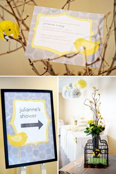 Yellow and Gray Bird-Inspired Baby Shower