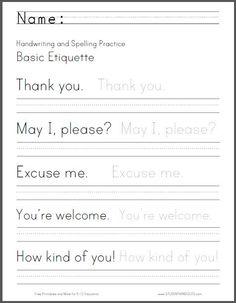 Basic Etiquette Handwriting Worksheet | Student Handouts