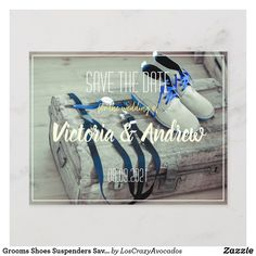 Grooms Shoes Suspenders Save the Date Postcard