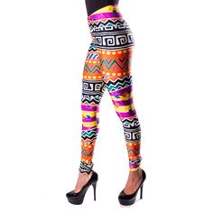 Retro in form, tribal in design. These '80s-inspired leggings feature a vivid Navajo-inspired pattern on a high-quality nylon/spandex blend, hitting right around your natural waist for comfortable fit and super flattering line. Go on, flaunt your figure and express yourself.