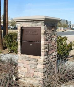 High Security Locking Mailbox In Stone Column Home Security Tips, Wireless Home Security Systems, Stone Mailbox, Mailbox Landscaping, Mulch Landscaping, Landscaping Ideas, Driveway Entrance, Stone Columns, Home Protection