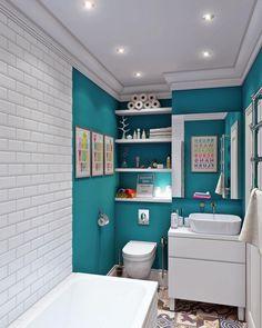 Бирюзовый цвет в дизайне ванной комнаты