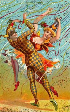 Ephemera. Harlequin. Vintage. Illustration. French. Halloween.