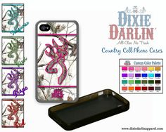 Country girl inspired custom cell phone cases, with a snow camo background and a custom camo buck and bow trimmed in your favorite color