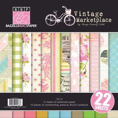 Bazzill Basics - Margie Romney-Aslett - Vintage Marketplace Collection - 12 x 12 Assortment Pack at Scrapbook.com $19.99