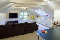 Shingle Style Attic Play Area - contemporary - media room - boston - LDa Architecture & Interiors