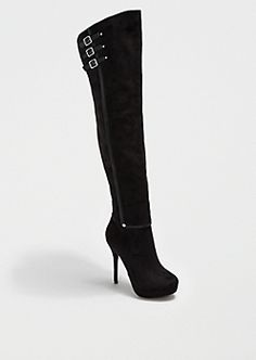 Black Buckled Over-The-Knee Boot By Wild Diva®