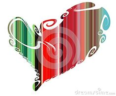 Isolated heart on white backgroud. Colorful pastel red green shapes heart in hues and forms and playful hues with contrasts. Valentine image and design.