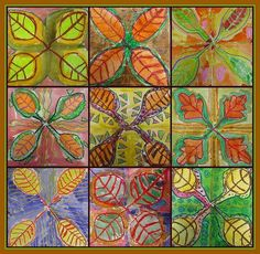 Fall project  Good use of symmetry in shape, color, and lines. (Alt. fold square into 1/4s, trace leaf onto all 4 quads. Outline over  over in multi-colors?)