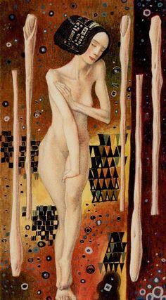 5 de bâtons - Tarot de Klimt par A. Atanassov