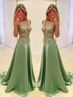 Elegant Appliques Prom Dress,Deep V-Neck Evening Dress,Beading Sleeveless Party Dress - Thumbnail 1