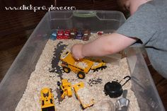 Cars/Trucks + Dry Oatmeal = Fun!