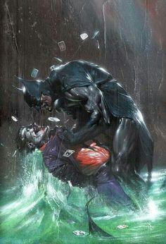 Batman vs Joker. Art done by Gabrielle Dell'Otto