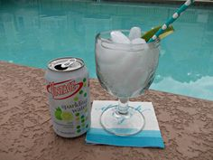 Vintage sparkling water by the pool