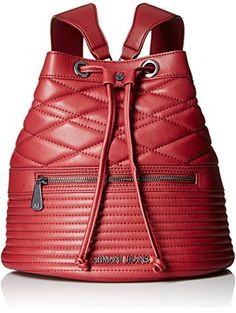 Armani Jeans Quilted Eco Leather Bucket Backpack, Bordeaux ❤ Armani Jeans  Bucket Backpack, Laptop dddcab2484