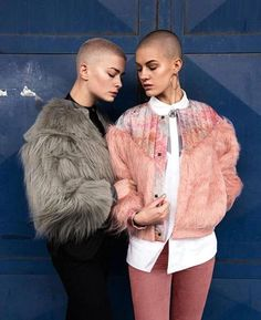 Fabulous in faux fur...and peach fuzz on those pretty heads!