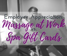Wondering whether you should get a spa gift card or call in an office massage company? In this article we'll give you the pros and cons of both. Massage Gift Certificate, Employee Morale, Health Fair, Employee Appreciation Gifts, Carpal Tunnel Syndrome, Massage Benefits, Hard Workout, Spa Massage, Spa Gifts