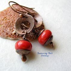 Coral Red Lampwork Bead Earrings with Hammered Copper - washers and lampwork beads