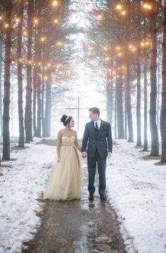 "Emerald & Burgundy ""In the Woodlands"" Winter Wedding Inspiration  Photographer: B. Photography"
