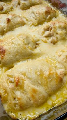 Chicken Roll Ups ~ Heaven in a pan... chicken breasts wrapped in crescent rolls and smothered with cream of chicken soup, milk and cheese... Delish!