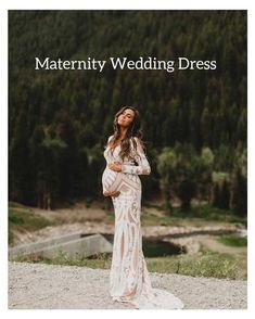 White Lace Maternity Dress, Maternity Dresses For Baby Shower, Maternity Gowns, Maternity Wedding, Maternity Pictures, Pregnant Wedding Dress, Wedding Dress Shopping, Modest Wedding Dresses, Vestidos Para Baby Shower