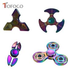 TOFOCO Hand Spinner 4 type Colorful Zinc Alloy Fidget Spinner Figet Spinner Stress Cube Brass Focus Toy For Anti Stress Gift