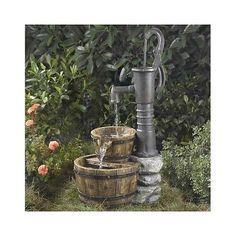 Water Fountain Garden Tiered Cascading Feature Barrel Pump Patio Outdoor Indoor