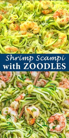 This Shrimp Scampi with Zucchini Noodles makes a tasty and healthy dinner. The shrimp are cooked in a lemon-garlic sauce and then combined with zoodles. Healthy Noodle Recipes, Zucchini Noodle Recipes, Zoodle Recipes, Spiralizer Recipes, Seafood Recipes, Zucchini Spirals Recipes, Spiral Vegetable Recipes, Vegetable Spiralizer, Recipe Zucchini