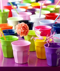 Rice dk Melamine Cups Set of 6, $31 at Rice dk.; Plastic cups for color and durability.