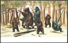 vintage postcard of bears with guns