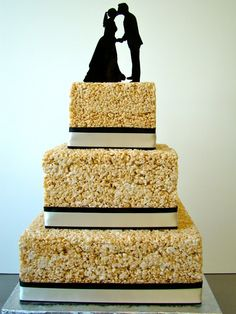 Untraditional krispy wedding cake in a classic shape and design