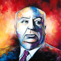 """""""Well done, Sir Hitchcock"""", Acryl auf Leinwand, Alfred Hitchcock, Paintings, Animals, Charcoal Sketch, Idea Paint, Canvas, Art Production, Drawing S, Photo Illustration"""