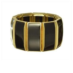 "Square Tile Bulk Stretch Bracelet.  Black square tile bulk stretch bracelet with gold detail  Diameter approx 2.5"" Width 1.5"" Stretch Lead and nickle compliant"