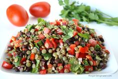 The Garden Grazer: Black Bean Lentil Salad with Cumin-Lime Dressing Use vegetable broth to replace the olive oil. It delish!