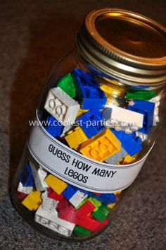 Lego Friends blocks for a girl. Fun game idea for a Lego-themed party. Put Legos in a jar, they have to guess how many. The one who comes closest gets the jar of Legos. Idee Baby Shower, Bebe Shower, Baby Shower Games, Baby Shower For Boys, Boy Baby Showers, Baby Shower Ideas For Boys Themes, Baby Boy Games, Star Wars Party Games, Lego Party Games
