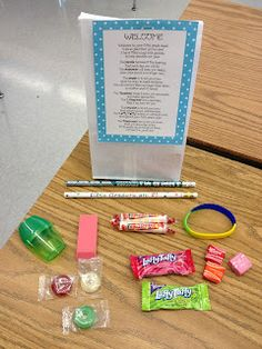 Love this idea for a first day of school goodie bag!