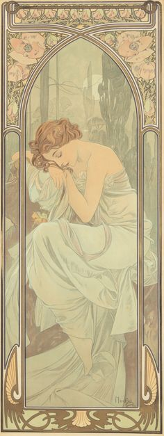Artist: ALPHONSE MUCHA (1860-1939) Size: Each: 14 1/2 x 40 1/2 in./36.7 x 103 cm Imp. F. Champenois, Paris This larger-format variant does not include the bottom text indicating the individual time of day. (gan)