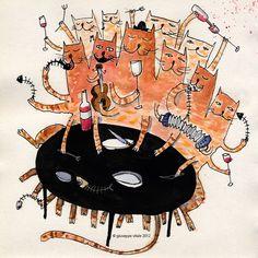Cat Art, Illustrators, Buffet, Halloween, Cats, Paper, Prints, Big, Children