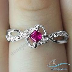 1.00 CT Bypass Shank Princess Cut Pibk Sapphire Women's Engagement Ring Size5-11 #aonejewels #EngagementRing #EngagementWeddingPartyGift