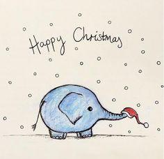 Dumbo The Elephant, Happy Elephant, Cartoon Elephant, Elephant Nursery, Baby Cartoon, Christmas Paintings, Christmas Art, Christmas Projects, Christmas Elephant